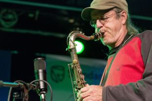 Swiss jazz artist, Donat Fisch, plays sax with contemporary South African jazz pianist, Bokani Dyer, at DSG Hall venue in Grahamstown on 2 July 2015, at the 2015 National Arts Festival. The South African-Swiss collaboration mixed contemporary with old Swis