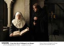 Barbara Sukowa as Hildegard von Bingen and Heino Ferch as Brother Volmar in VISION. A film by Margarethe von Trotta. A Zeitgeist Films release.